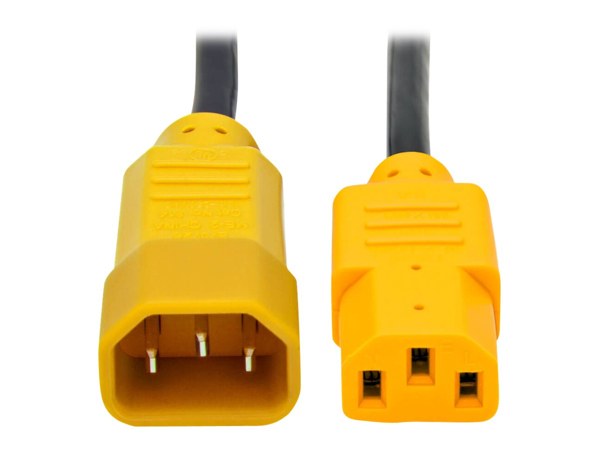 Tripp Lite 4ft Computer Power Cord Extension Cable C14 to C13 Yellow 10A 18AWG 4' - power extension cable - 1.2 m