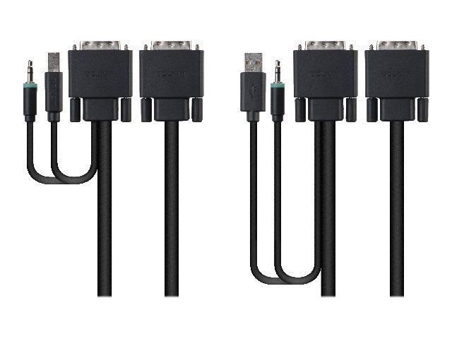 Belkin Secure KVM Cable Kit - Video- / USB- / Audio-Kabelsatz - USB, Mini-Phone Stereo 3,5 mm, DVI-D (M) bis Mini-Phone Stereo 3,5 mm, USB Type B, DVI-D (M) - 1.8 m - B2B