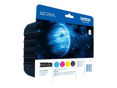 Brother LC1280XL Value Pack - 4 pakker - sort, gul, cyan, magenta - original - blækpatron
