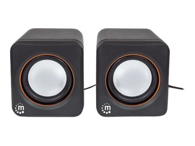 Manhattan 2600 Series Speaker System, Small Size, Big Sound, Two Speakers, Stereo, USB power, Outpu