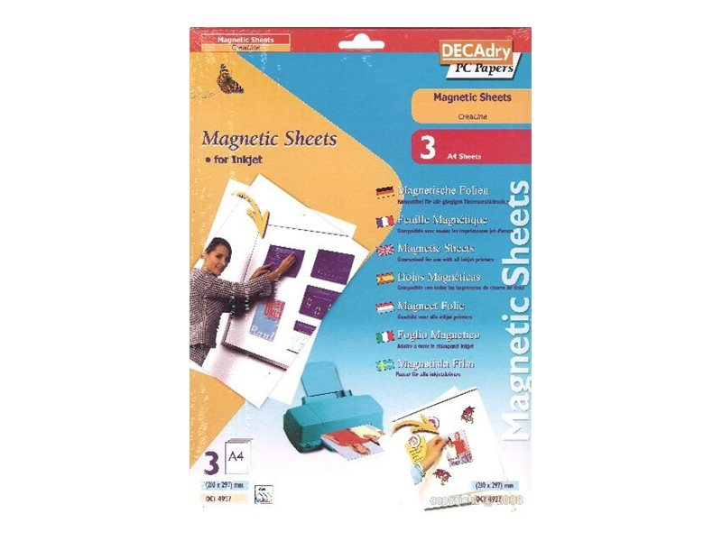 DECAdry Magnetic - feuilles magnétiques - 3 feuille(s) - A4 - 650 g/m²
