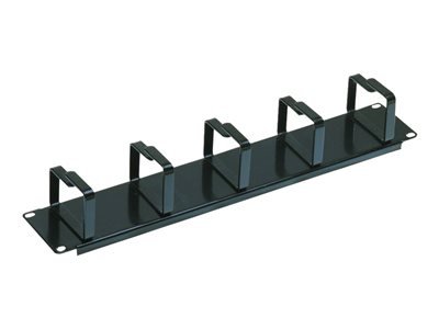 "Lindy 2U Horizontal Cable Management Panel with 5 Vertical Hoops (for Use with 19"" Enclosures) (Black) (Fixing Screws, Cage Nuts and Washers Supplied Separately)"