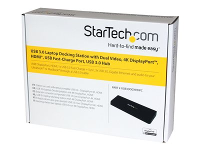 StarTech.com USB 3.0 Docking Station Dual Monitor with HDMI & 4K DisplayPort - 4x USB-A, Ethernet - USB Type A Universal Laptop Dock