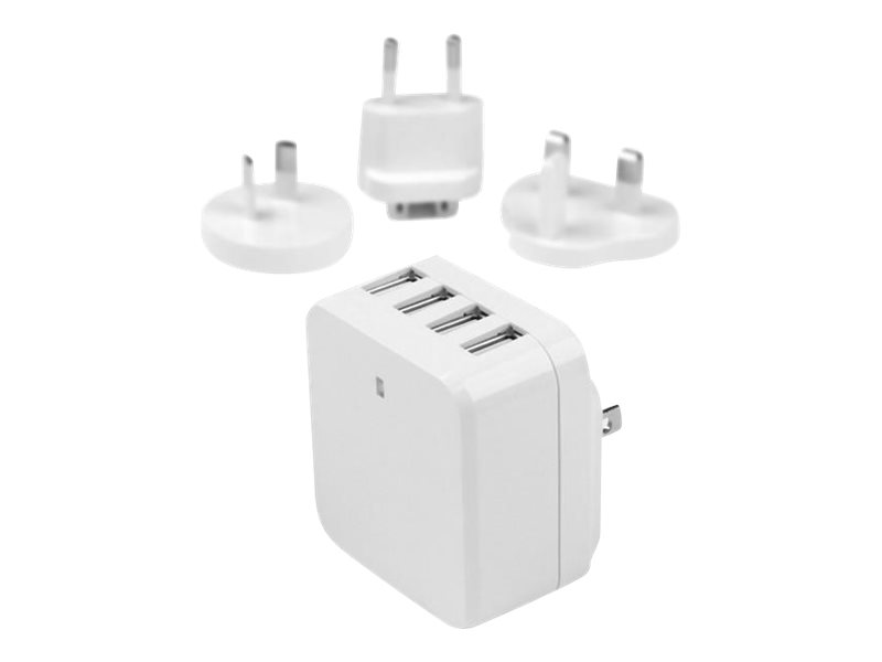 StarTech.com 4-Port Travel USB Wall Charger - 34W/6.8A International Travel Adapter - White - Portable USB Charging Sta…