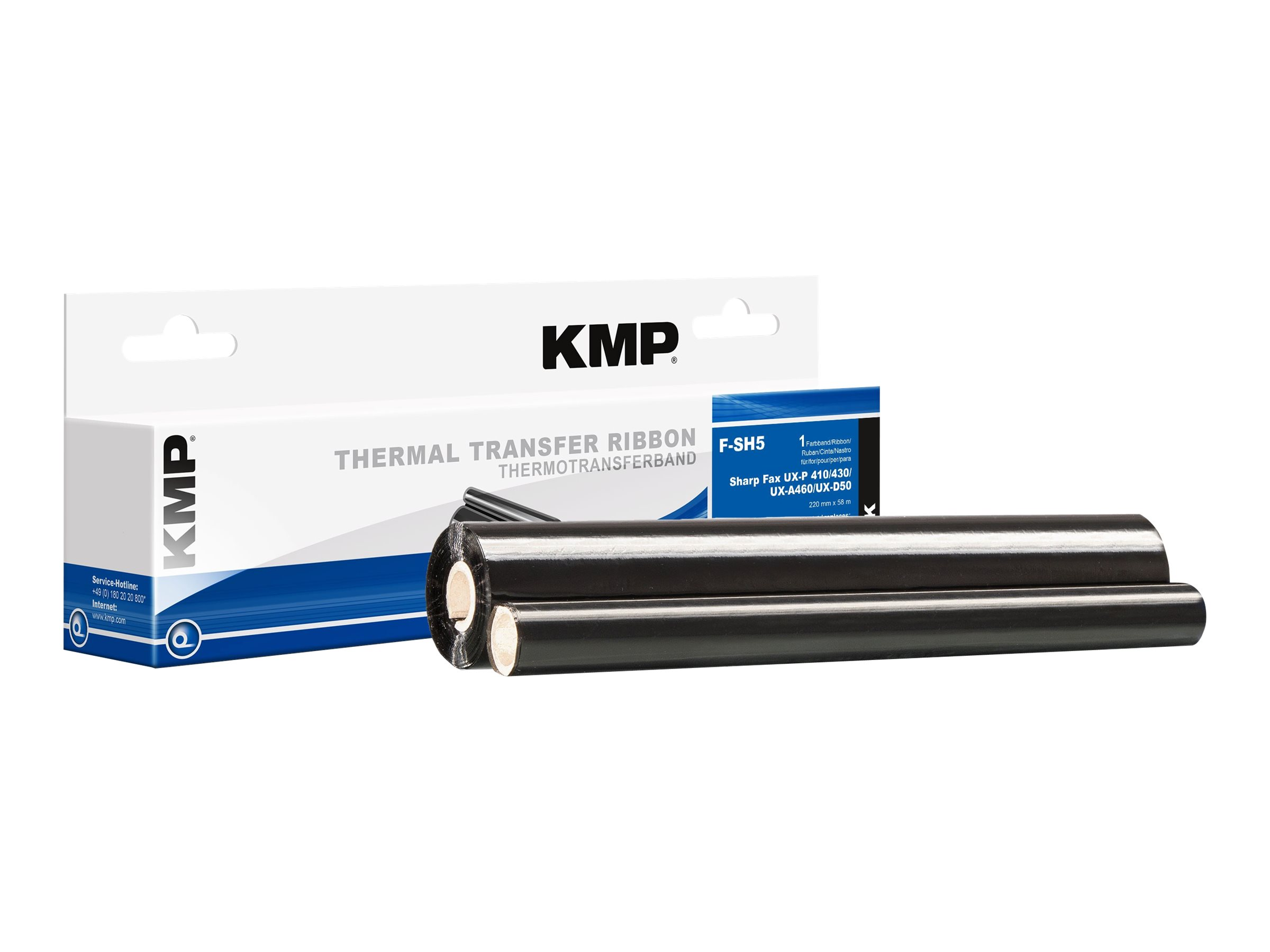 KMP F-SH5 - Schwarz - 220 mm x 58 m - Thermotransfer-Farbband (Alternative zu: Sharp UX-9CR) - für Sharp UX-A460, P410