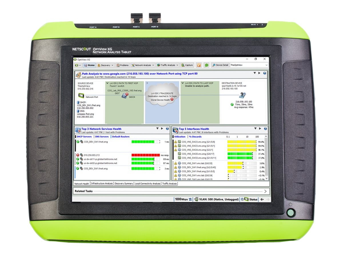 NetScout OptiView XG Network Analysis Tablet 1 Gbps with AirMagnet WiFi Analyzer, Spectrum XT, and SurveyPro - network …