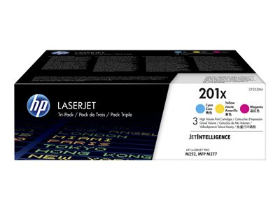 HP 201X - 3-pack - High Yield - yellow, cyan, magenta - original - LaserJet - toner cartridge (CF253XM)