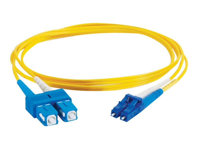 C2G 3m LC-SC 9/125 Duplex Single Mode OS2 Fiber Cable - Plenum CMP-Rated - Yellow - 10ft - patch cable - 3 m - yellow