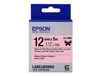 Epson LabelWorks LK-4PBK - Satin - noir sur rose - Rouleau (1,2 cm x 5 m) 1 rouleau(x) bande de ruban - pour LabelWorks Cable and Wiring Kit, LW-1000, 600, 700, K400, Z700, Z710, Z900, Safety Kit