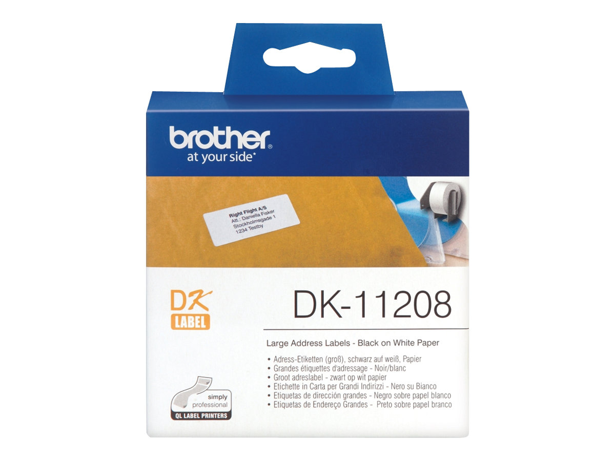Brother DK-11208 - 400) Adressetiketten - für Brother QL-1050, QL-500, QL-550, QL-560, QL-650, QL-700, QL-710, QL-720, QL-820