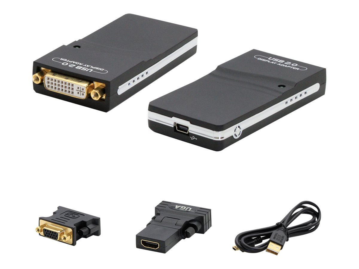 AddOn 5-pack 8in USB 2.0 (A) to DVI-I (29 pin) Adapter - external video adapter - black