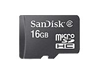 SanDisk - Flash memory card (microSDHC to SD adapter included) - 16 GB - Class 2 - microSDHC - black