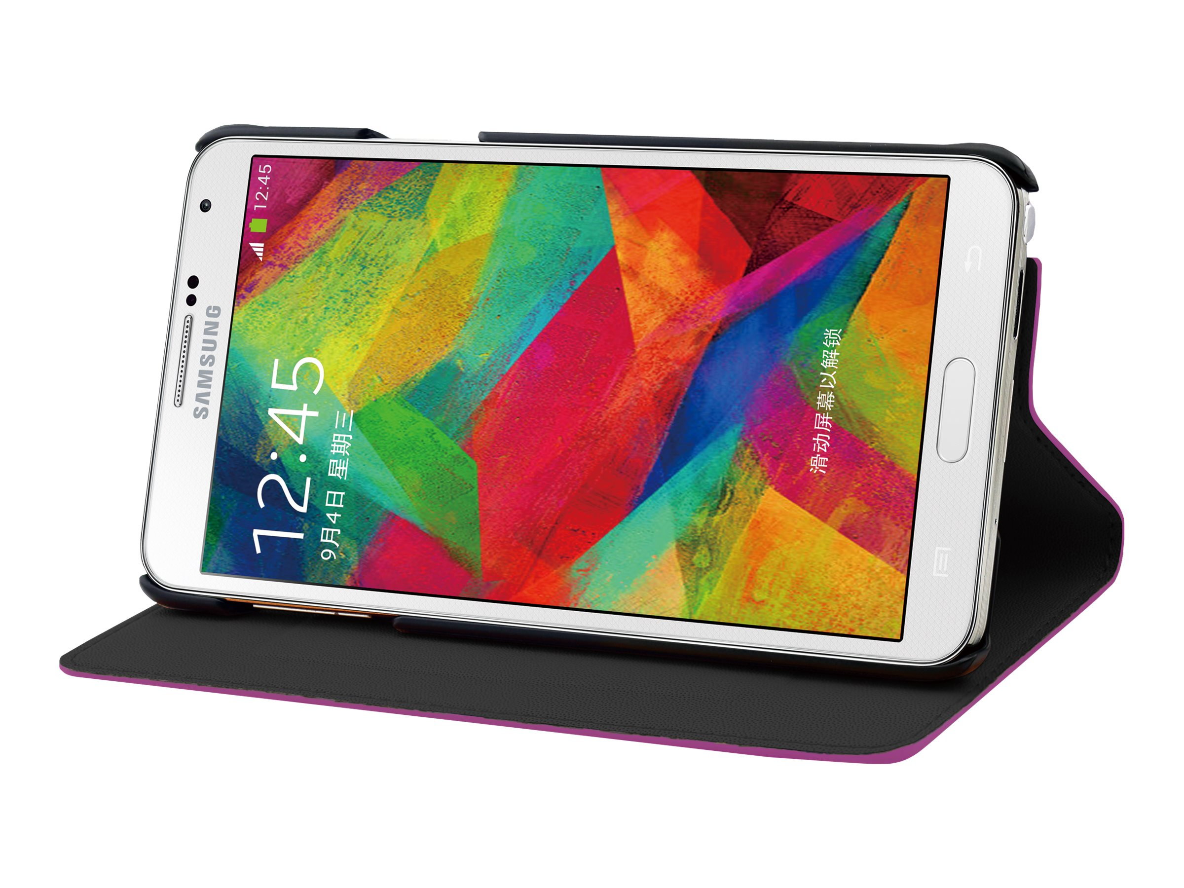 Muvit Slim'n'Stand - Protection à rabat pour Samsung GALAXY Note 4 - rose
