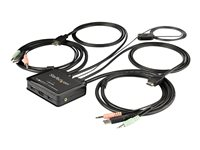 StarTech.com 2 Port HDMI KVM Switch, 4K 60Hz, Compact Dual Port UHD/Ultra HD USB Desktop KVM Switch with Integrated 4ft Cables & Audio, Bus Powered & Remote Switching, MacBook ThinkPad