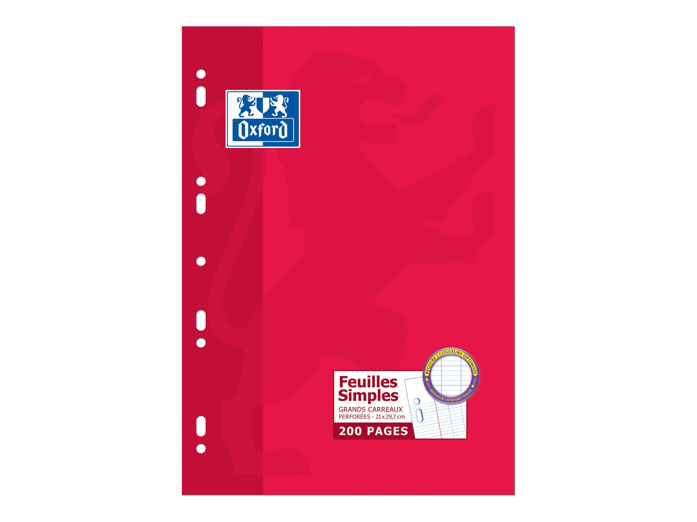 Oxford - A4 - Copies simples - 21 x 29,7 - 200 pages - Grands carreaux