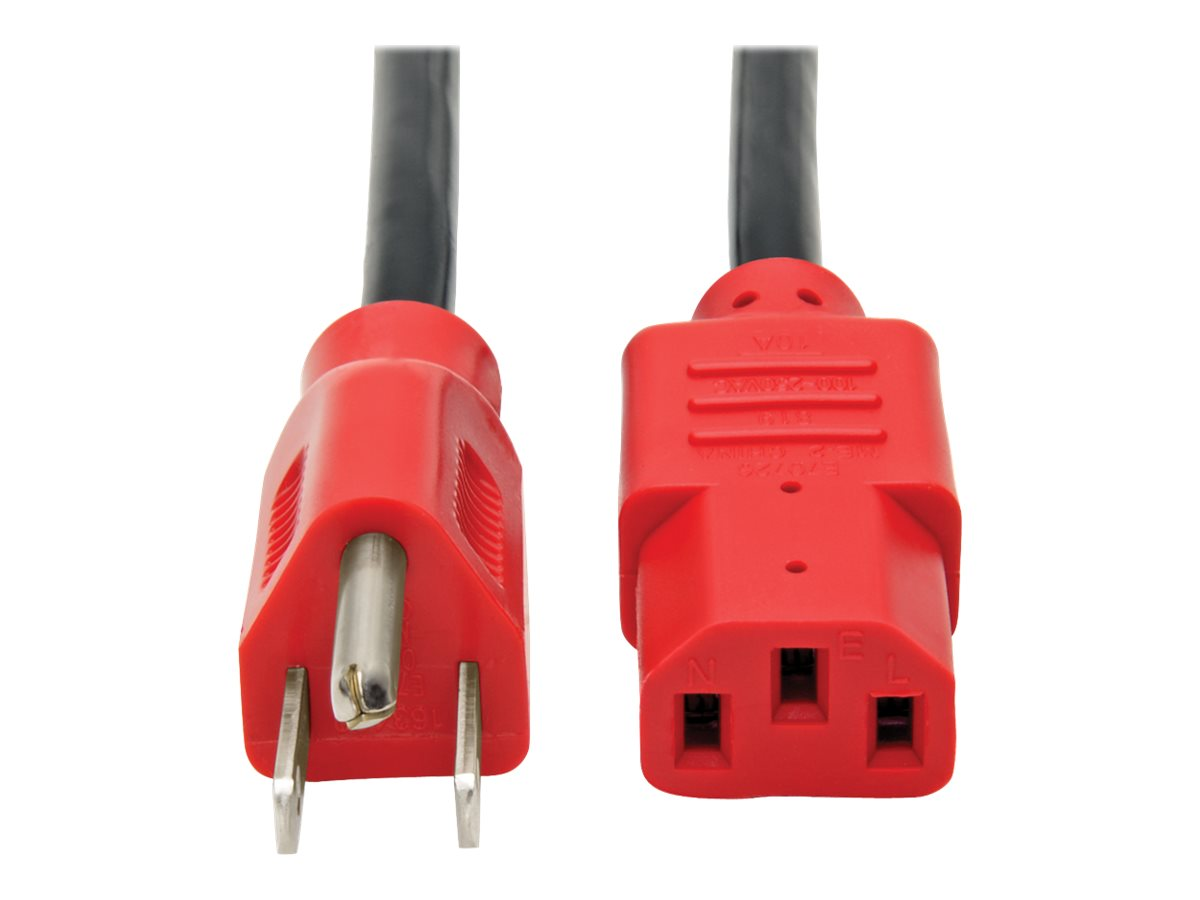 Tripp Lite 4ft Computer Power Cord Cable 5-15P to C13 Red 10A 18AWG 4' - power cable - 1.2 m