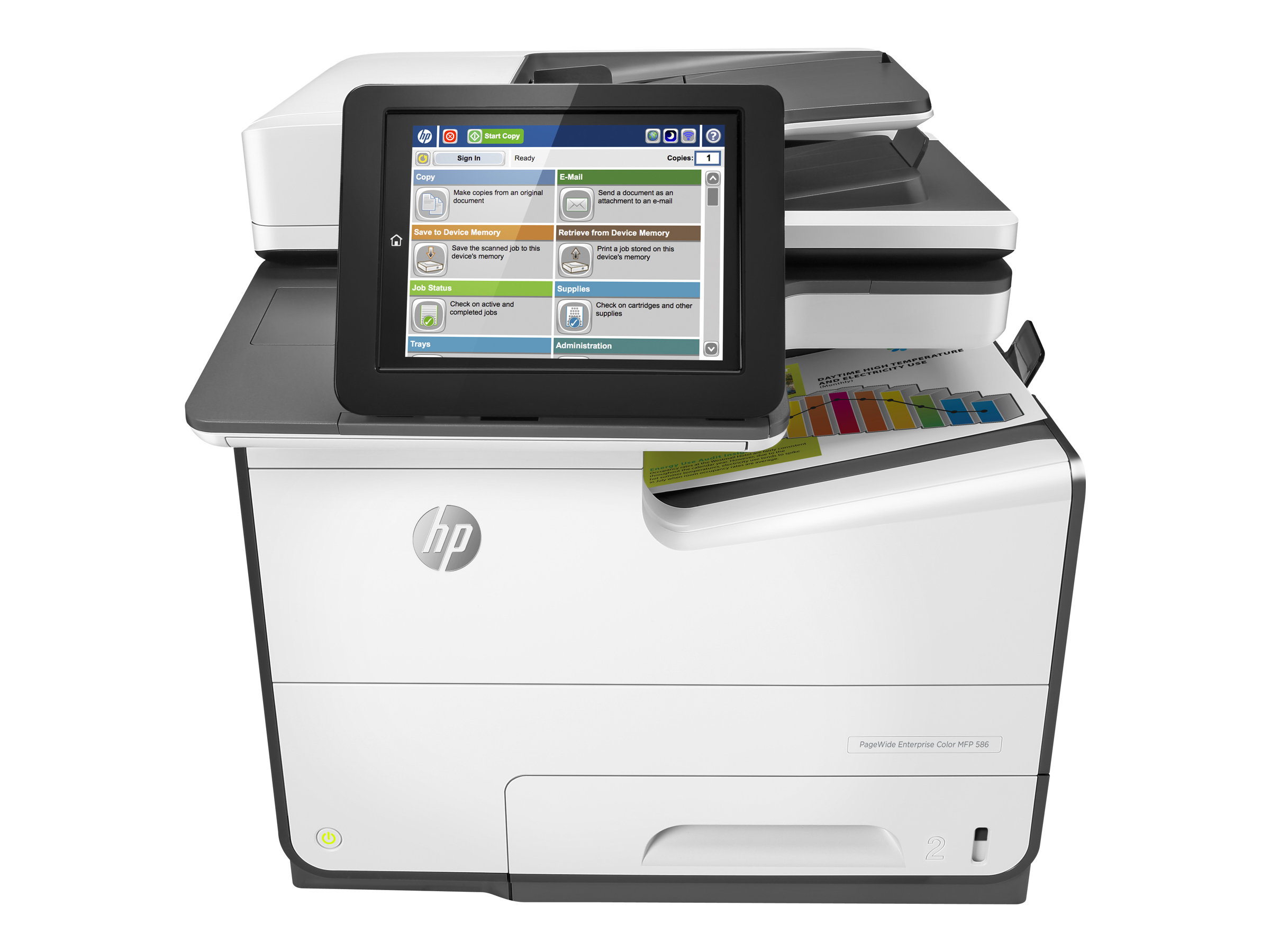 HP PageWide Enterprise Color MFP 586dn - Multifunktionsdrucker - Farbe - seitenbreite Palette - A4 (210 x 297 mm), Legal (216 x 356 mm) (Original) - A4/Legal (Medien)
