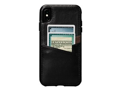 Sena Dean Lugano Leather Snap On Wallet Back cover for cell phone full-grain leather black