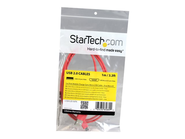 StarTech.com 1m Pink Mobile Charge Sync USB to Slim Micro USB Cable - Phones & Tablets - A to Micro B M/M - Thin Micro USB Charging Cable (USBAUB1MPK)