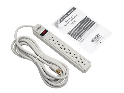 Tripp Lite Protect It! 6-Outlet Surge Protector, 15 ft. Cord, 790 Joules, Diagnostic LED, Light Gray Housing