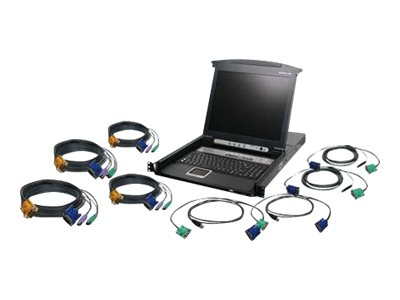 "IOGEAR GCL1808KIT 8-Port LCD KVM Switch with USB and PS/2 Cable Set - KVM console - 17"" - TAA Compliant"