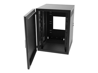 Legrand 12RU Swing-Out Wall-Mount Cabinet with Perforated Door-Black-TAA System cabinet