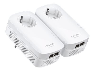 TP-LINK AV1000 - V2.0 - 2-Port Gigabit Passthrough Powerline Starter Kit - Bridge - GigE, HomePlug AV (HPAV), HomePlug AV (HPAV) 2.0 - an Wandsteckdose anschließbar