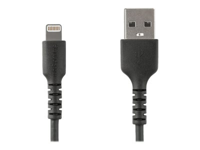 StarTech.com 2m(6 ft) Durable Black USB-A to Lightning Cable, Heavy Duty Rugged Aramid Fiber USB Type A to Lightning Charger/Sync Power Cord, Apple MFi Certified iPad/iPhone 12 Pro Max - iPhone 7/8/11/11 Pro (RUSBLTMM2MB)