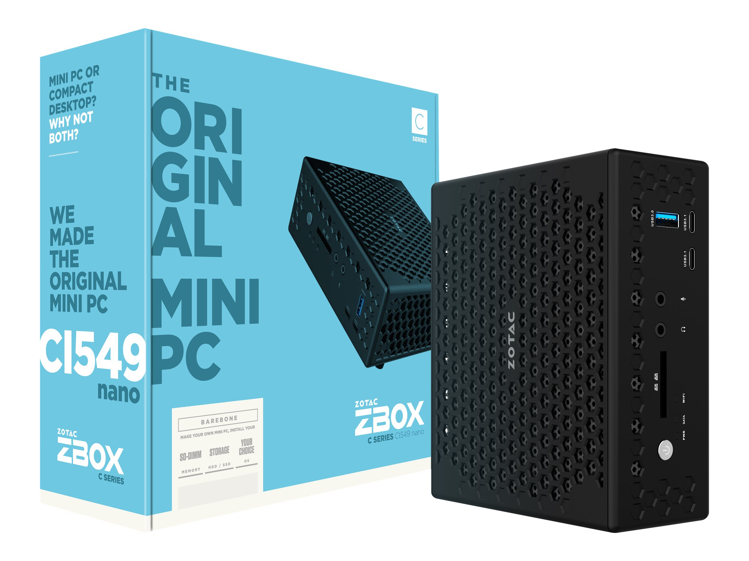 ZOTAC ZBOX C Series CI549 NANO - Barebone - Mini-PC - 1 x Core i5 7300U / 2.6 GHz - HD Graphics 620 - GigE