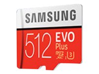 Samsung EVO Plus MB-MC512GA - Carte mémoire flash (adaptateur microSDXC vers SD inclus(e)) - 512 Go - UHS-I U3 - microSDXC UHS-I