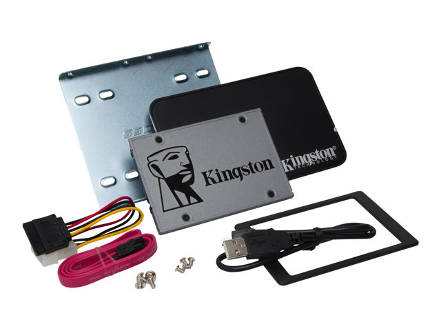 "Kingston UV500 Desktop/Notebook upgrade kit - Disque SSD - chiffré - 480 Go - interne - 2.5"" (dans un support de 3,5"") - SATA 6Gb/s - AES 256 bits - Self-Encrypting Drive (SED), TCG Opal Encryption 2.0"