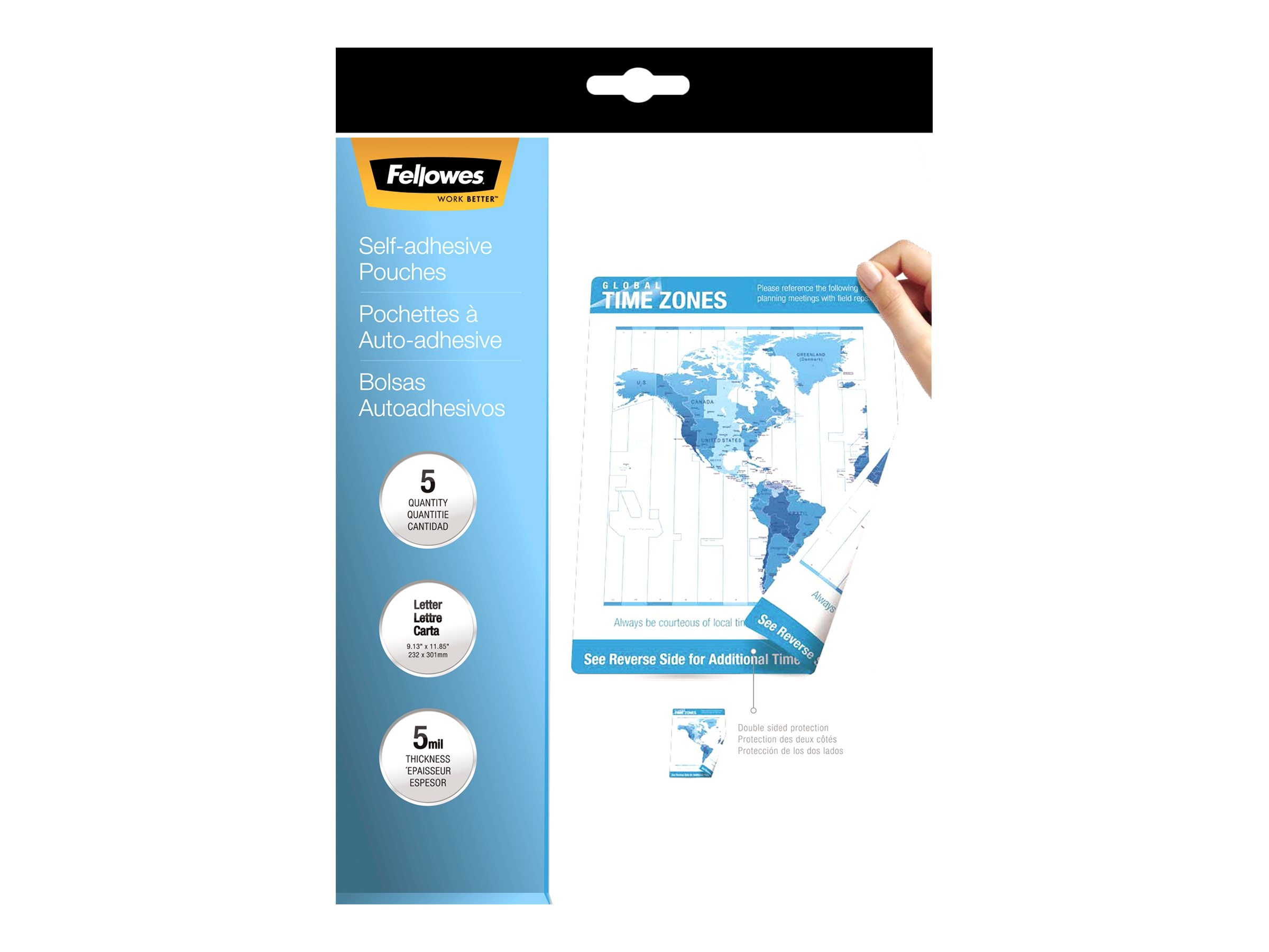 Fellowes - 5-pack - clear glossy - Letter - lamination pouches with adhesive back
