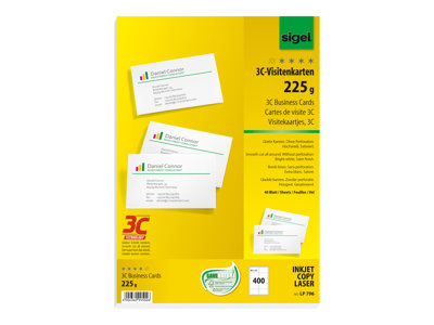 Cartes de visites Sigel Business Card 3C LP796 - cartes de visite - 400 carte(s) - 85 x 55 mm - 225 g/m²