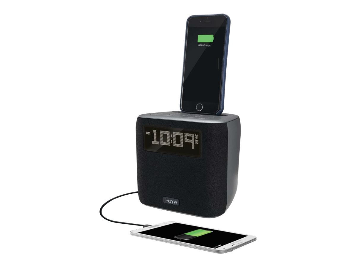 iHome IPL24 - Radiouhr mit Apple-Dock-Cradle - Gun Metal