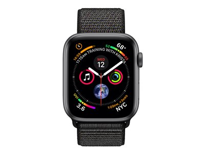Apple Watch Series 4 (GPS) - space gray aluminum - smartklokke med sportssløyfe - svart - 16 GB