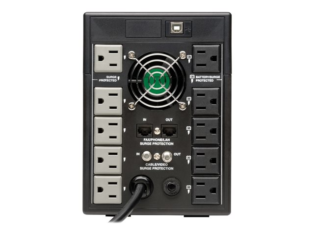 Tripp Lite UPS Smart LCD 120V 50/60Hz 1500VA 900W Line-Interactive AVR, Tower, Battery Back-Up LCD, USB, 10 Outlets