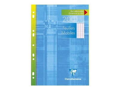 Copies Clairefontaine - 200 Feuillets mobiles - A4 - blanc - Grands carreaux - perforé