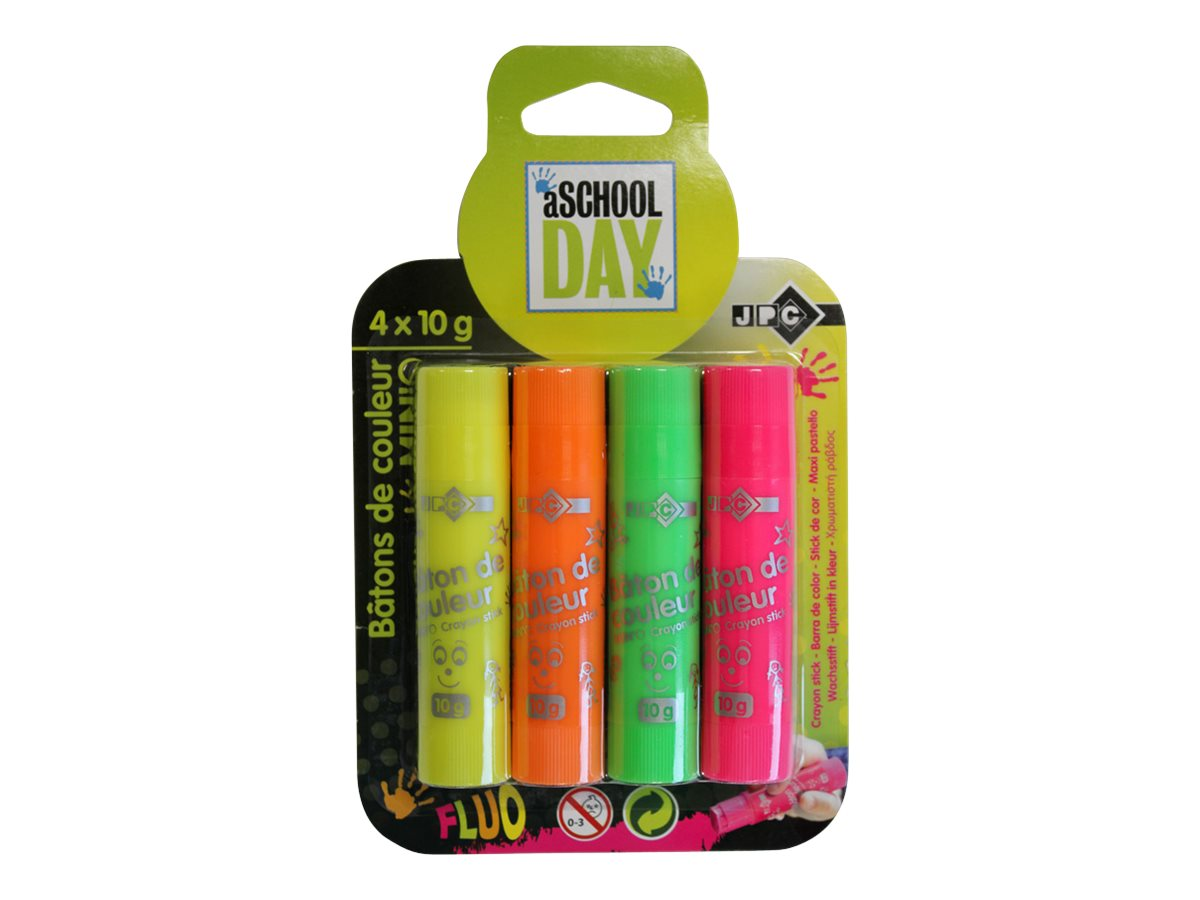 jpc aschool day 4 crayons assortiment de couleurs fluorescentes crayons de couleur. Black Bedroom Furniture Sets. Home Design Ideas