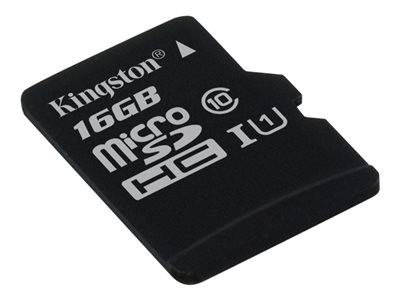 Kingston - Flash memory card (microSDHC to SD adapter included) - 16 GB - UHS-I U1 / Class10