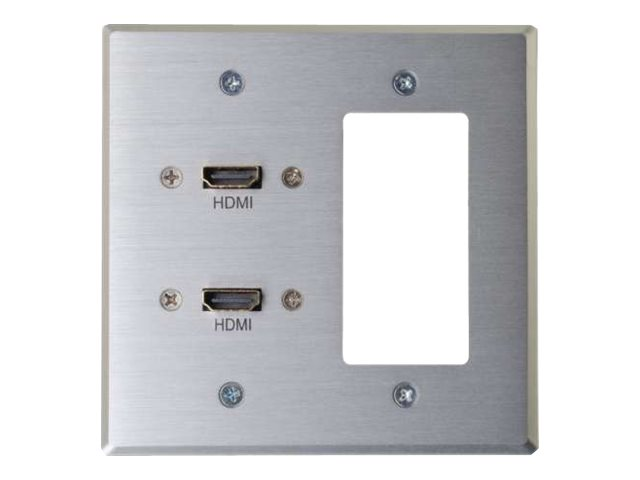 C2G RapidRun Dual HDMI Double Gang Wall Plate Transmitter with One Decorative Style Cutout - Aluminum - HDMI wall plate