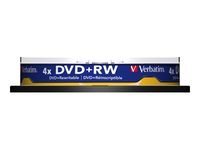 Verbatim - 10 x DVD+RW - 4.7 GB ( 120min ) 4x - matt silver - spindle