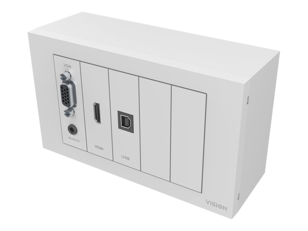 VISION TechConnect TC3 Wall-Mount Faceplate Package - Modulares Faceplate mit Snap-Ins - HD-15, Mini-Phone Stereo 3,5 mm, HDMI, USB-Typ B - Mattes Weiß