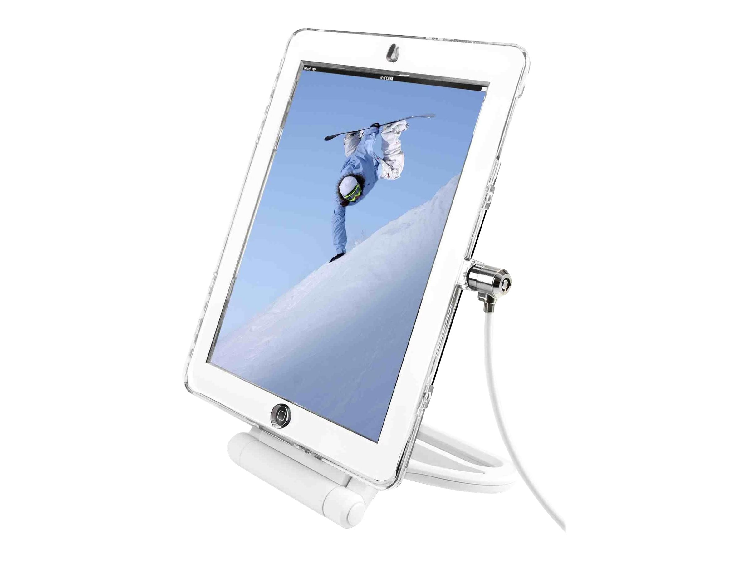"""Compulocks iPad 9.7"""" Rotating Security Plastic Case Combination Cable Lock Clear - stand"""