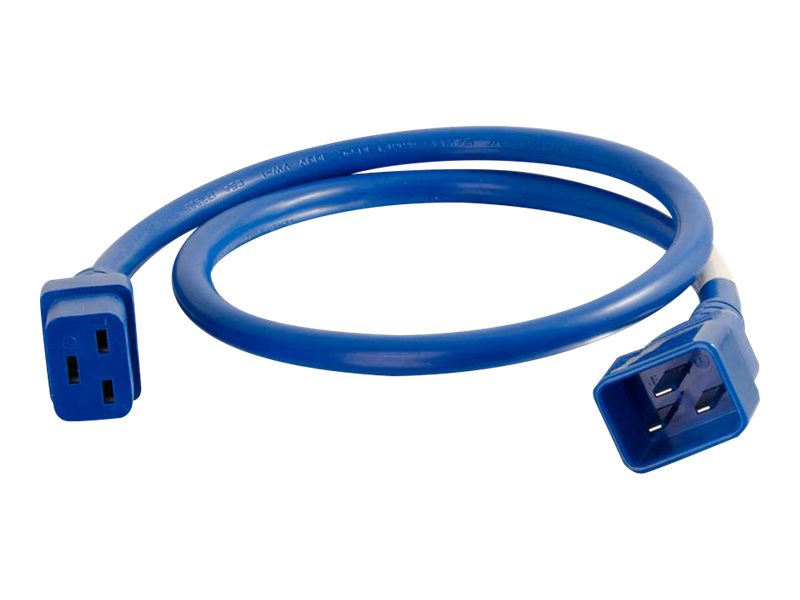 C2G 4ft 12AWG Power Cord (IEC320C20 to IEC320C19) - Blue - power cable - TAA Compliant - 1.22 m