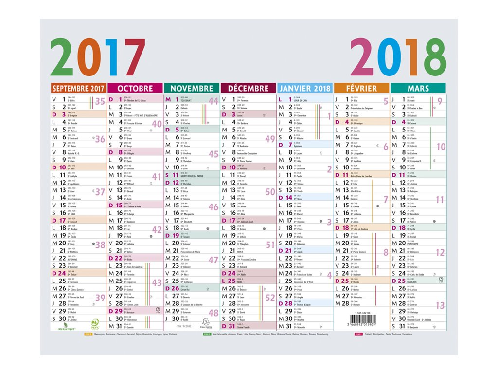 College Planning Exacompta Multicolore Calendrier Septembre 2017