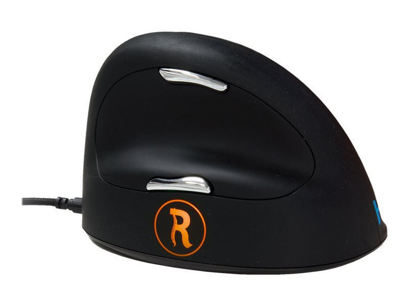 R-Go HE Mouse Break Ergonomiska mus, Anti-RSI-programvara, Medium (165-195mm), Höger, kabelansluten - vertical mouse - USB - svart