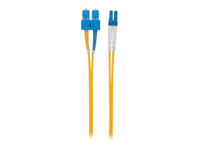 Intellinet Fibre Optic Patch Cable, OS2, LC/SC, 20m, Yellow, Duplex, Single-Mode, 9/125 µm, LSZH, Fiber, Lifetime Warr…