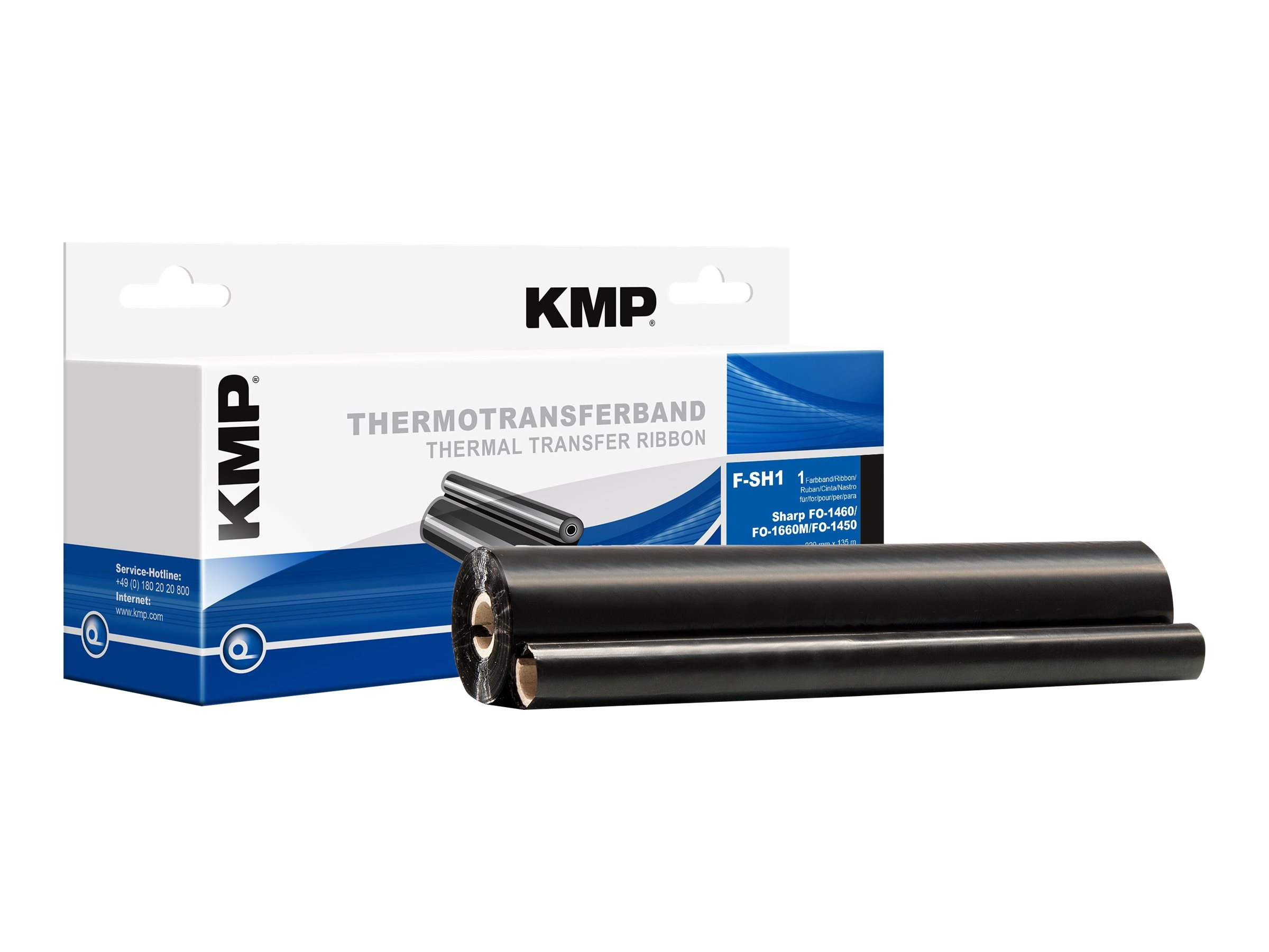 KMP F-SH1 - Schwarz - 220 mm x 135 m - Thermotransfer-Farbband (Alternative zu: Sharp UX-15CR) - für Sharp FO-14XX, 15XX, 16XX, 1850; UX-1000, 1100, 1300, 1400, 500, 510, 600