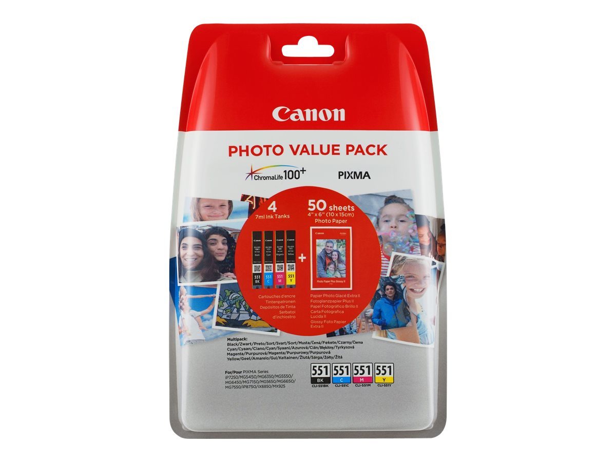 Canon CLI-551 C/M/Y/BK Photo Value Pack - 4er-Pack - 7 ml - Schwarz, Gelb, Cyan, Magenta - Original - Blisterverpackung