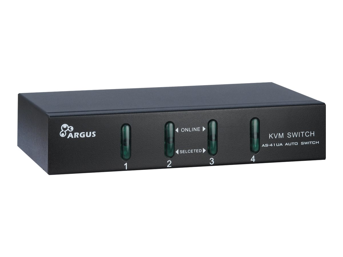 Argus KVM-AS-41UA - KVM-/Audio-Switch - 4 x KVM/Audio - Desktop